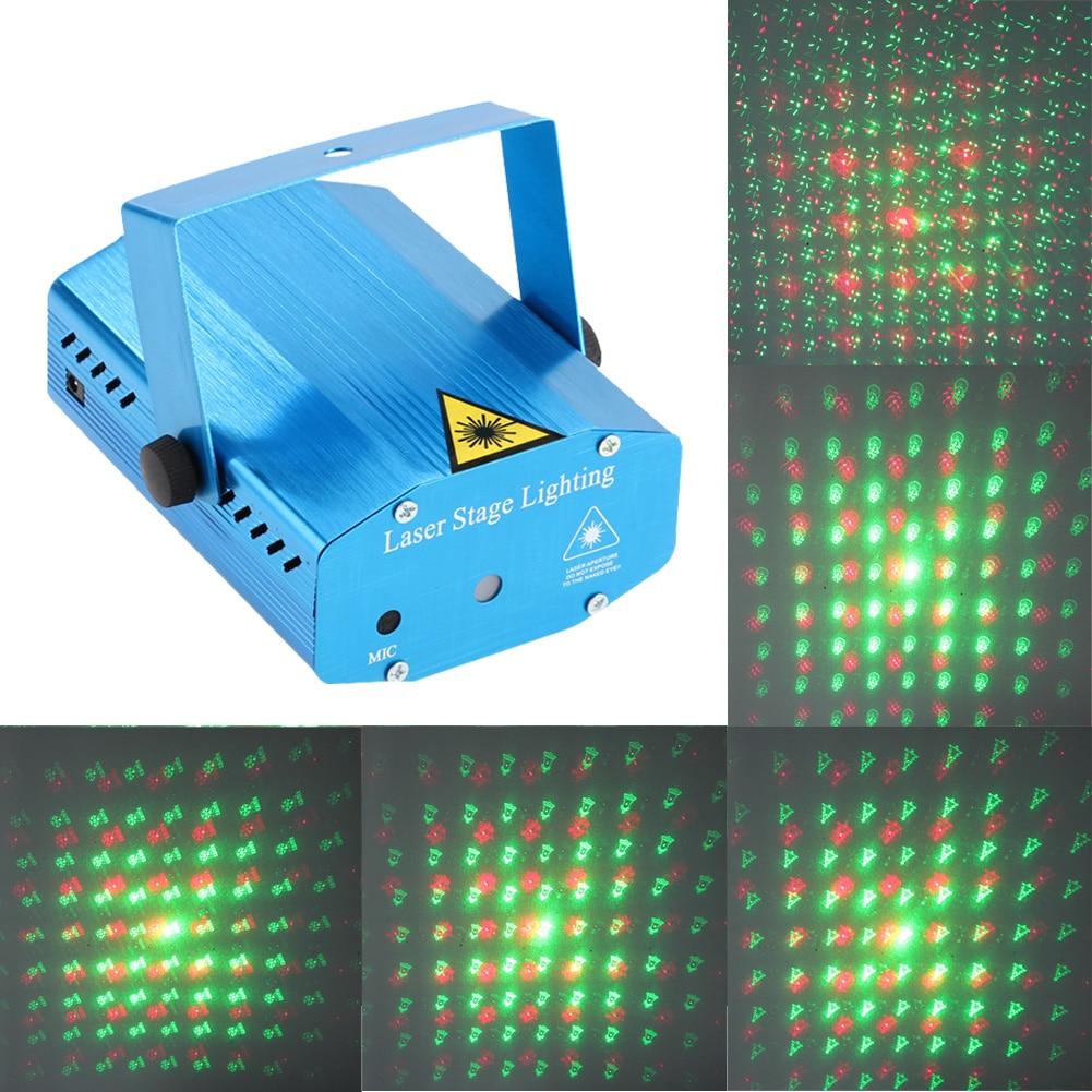Mini 6 Patterns Laser Projector Stage Lights LED R&G Lighting Xmas Party KTV DJ Disco Light NG4S