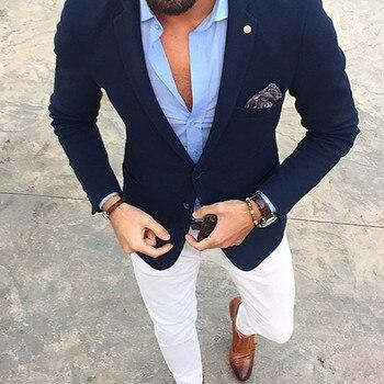Mucielee Blazer Masculino Slim Fit Tuxedo navy blue Men Suit Latest Coat Pant Designs Costume Homme mens suits (Jacket+Pants)