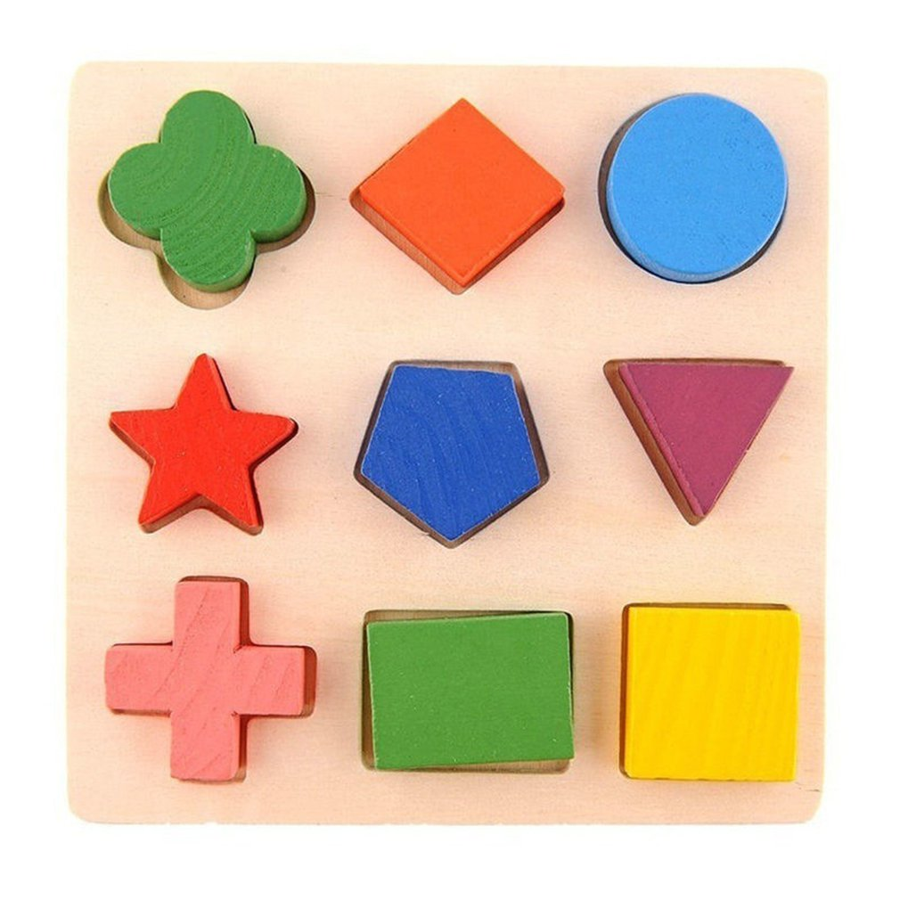 Toy Geometry-Block Cognitive Puzzles Early-Learning Baby Children Educational-Toy Wooden