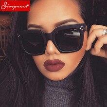 a12e2ab6e2849 UV400 SIMPRECT 2018 Quadrados Óculos De Sol Mulheres Espelho Retro Óculos  de Sol Designer de Moda Da Marca Do Vintage óculos de .