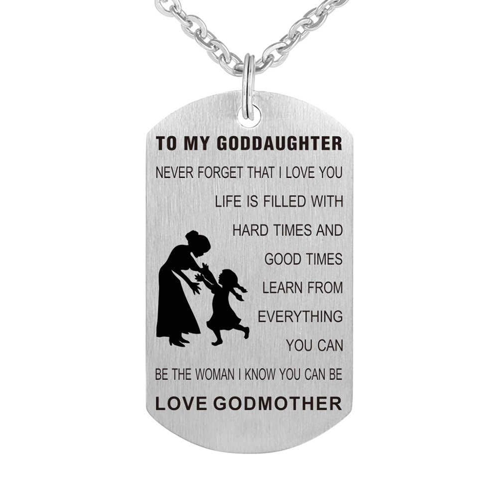Stainless Steel Birthday Gift From Godmother Goddaughter Necklace Jewelry Pendant