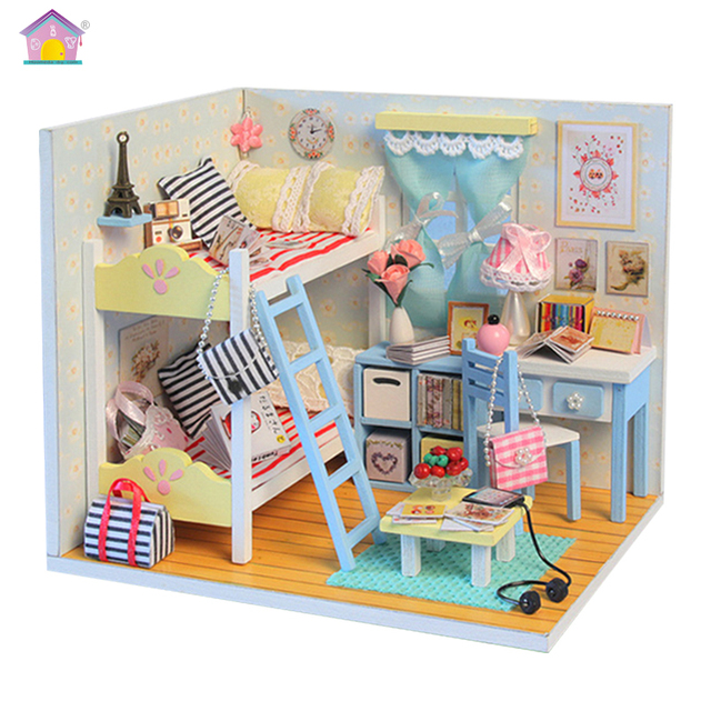 Wooden Dolls House Children Miniature Houses Toy For Girls Boys