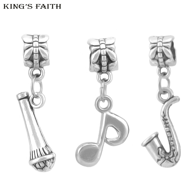 Kings faith silver plated saxophone microphon musical notes kings faith silver plated saxophone microphon musical notes pendants fit pandora charms bead bracelets diy jewelry aloadofball Choice Image