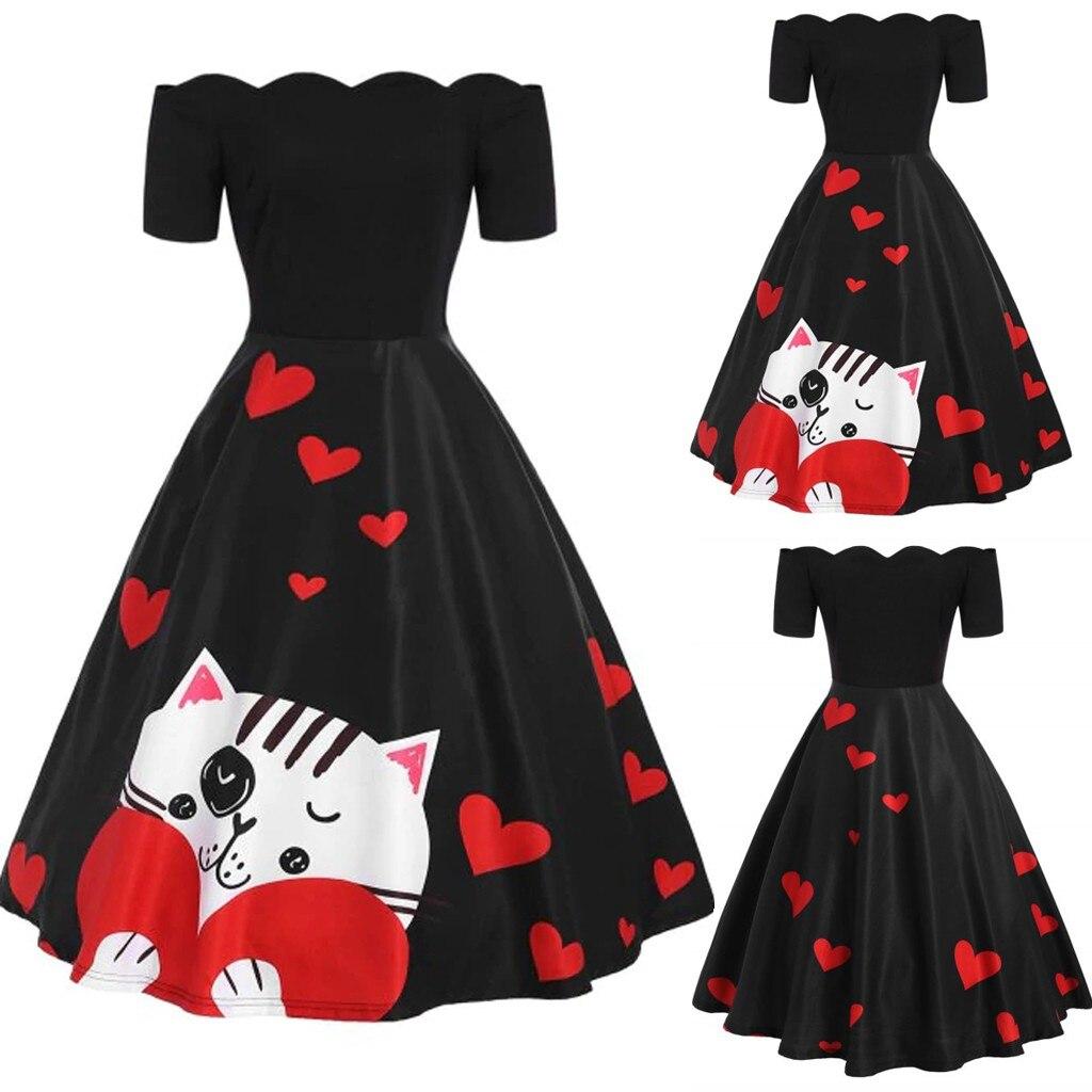 Women Fashion Vintage Cat And Love Print Off Shoulder A Line Swing Dress
