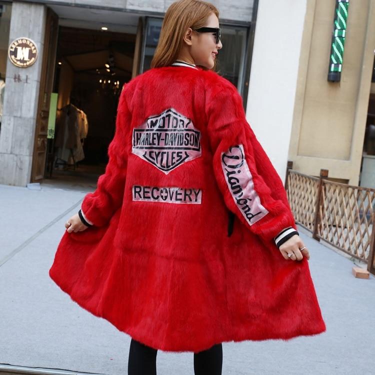 gris Automne Peau Section Veste Nouveau Le D'hiver Femmes Longue Faux rose Et Robe Angora noir L'ensemble Fourrure De La Manteau Dans rouge Beige x7wxq