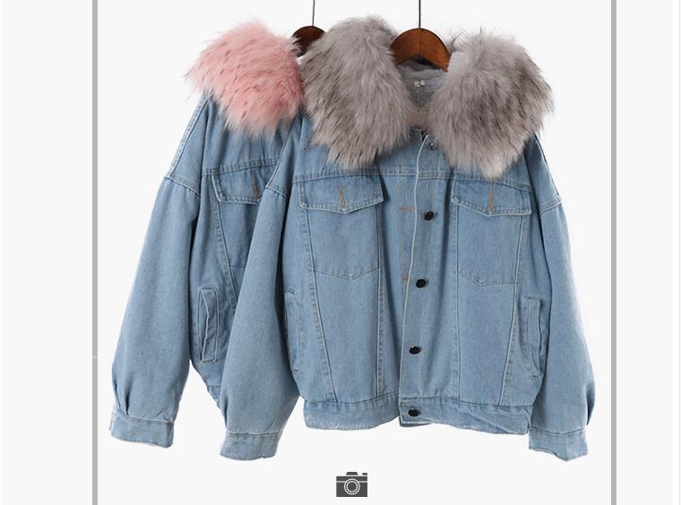 Capuche Laine D'agneau Femmes Pink Femelle Épais Grand Parkas Manteau Chaud Coréennes De En Col gray Fourrure Cowboy H834 Hiver 2018 Amovible q0gtwfYq