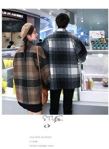 Image 2 - Abrigo de moda para hombre y mujer, abrigo de lana largo medio holgado de otoño.