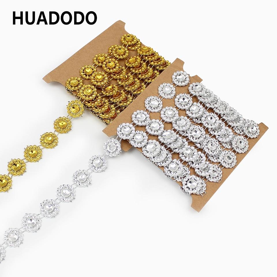 HUADODO 2 yards 15mm Gold Silber Blume Diamant Bling Kristall Band Wrap Trim DIY Handarbeit Home Hochzeit Kuchen Party dekorationen