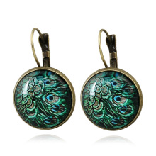 Фотография Vintage Round Dragon Cat Eye Vintage Drop Earrings Flower Butterfly Glass Peacock Feather Jewelry For Fashion Women Best Gift