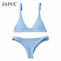 CharMma Bikinis 2017 Push Up Padded Scoop Neck Woman Swimwear Solid Color Beachwear Brazilian Bikini Set