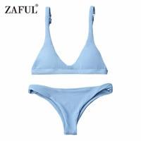 CharMma Bikinis 2017 Push Up Padded Scoop Neck Woman Swimwear Solid Color Beachwear Brazilian Bikini Set