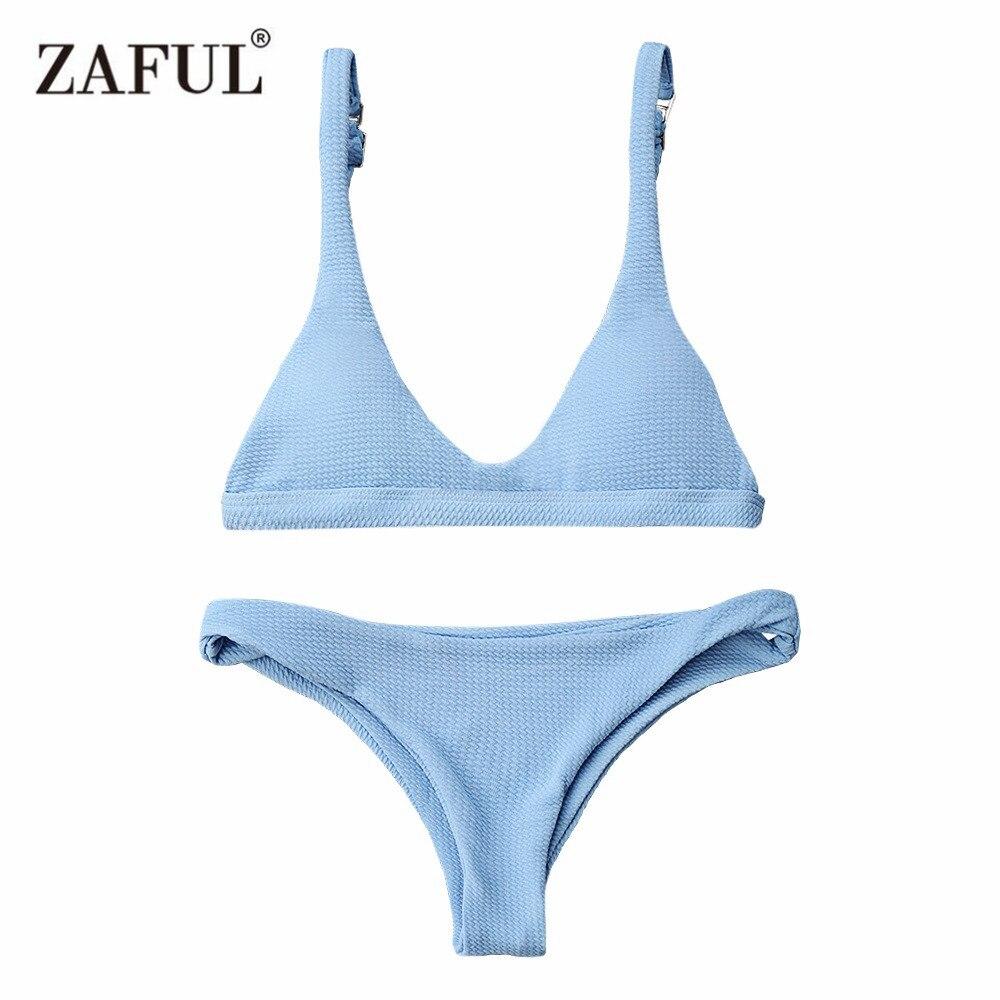 Zaful Bikini 2017 Push Up Imbottito Scoop Neck Donna Colore Solido Costumi Da Bagno Beachwear Brasiliano Bikini Maillot De Bain Femme