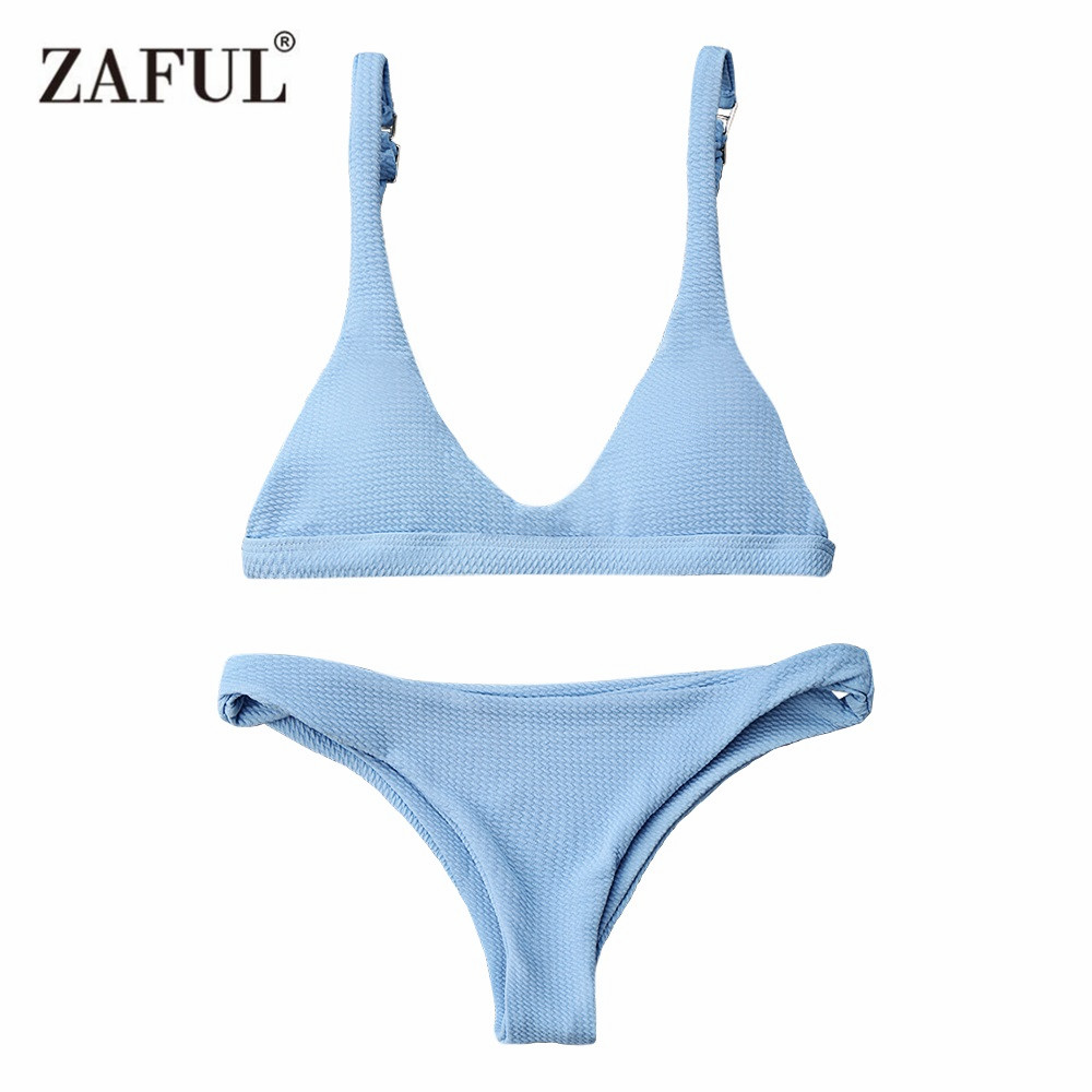 Zaful Bikinis 2017 Push Up Padded Scoop Neck Woman Swimwear Solid Color Beachwear Brazilian Bikini Set Maillot De Bain Femme white color block scoop neck padded design bikini