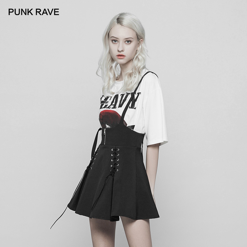PUNK RAVE Women's Gothic Black Classic Casual A-Line Skirt Fashion Corn Bandage Overalls Young Girl Casual Skirts Streetwear