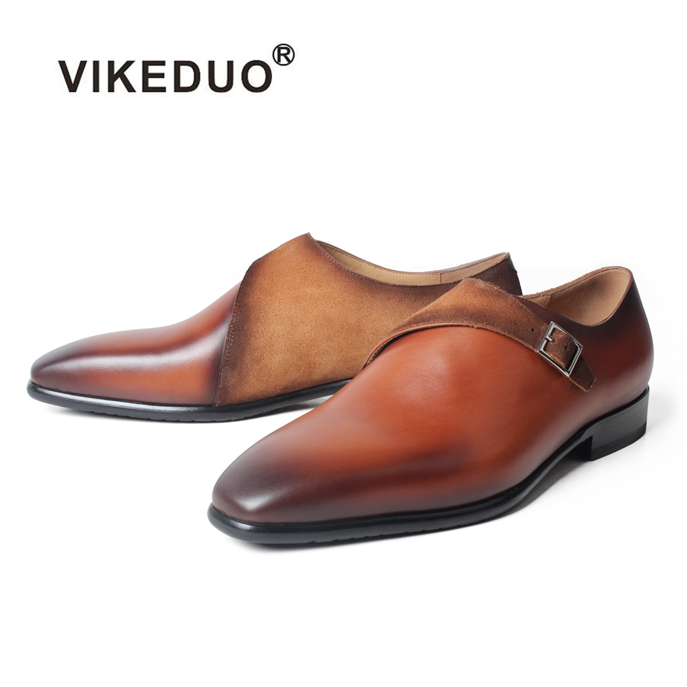VIKEDUO Brown Monk Shoes For Men Genuine Leather Square Toe Handmade Patina Shoes Wedding Office Formal Dress Shoes Man Footwear