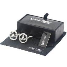 MeMolissa дисплей коробка запонки Классический Серебряный автомобиль рулевого колеса запонки для мужские бутон де маншетт Бесплатный тег и протирать ткань