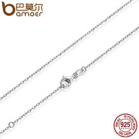 BAMOER Classic Basic Chain 100 925 Sterling Silver Lobster Clasp Adjustable Necklace Chain Fashion Jewelry SCA009