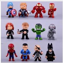 12pcs Avengers Infinite War Q versioSpiderman Iron Man Captain America Batman PVC Action Figure Collectible Model Dolls Toy B560 цена в Москве и Питере