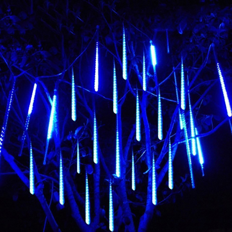 Waterproof 50CM 8 Tube Meteor Shower Rain LED String Light Outdoor Garden Christmas Party Snow Falling Icicle Cascading Light