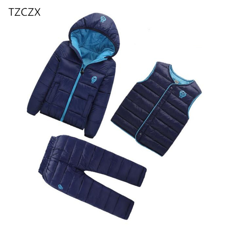 TZCZX-5520 Winter Children Boys Girls Sets Unisex Solid Hooded Jacket + Vest + TrousersSuit Clothing For 18 Months to 7 Years 2017 winter unisex solid ring safety pin