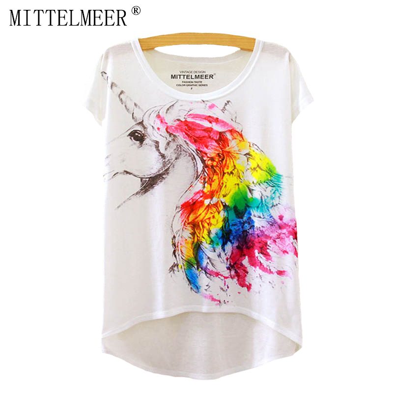 2016 Brand New Cotton cropped t Shirt Women Short Sleeve t-shirts o-neck Causal loose Magic Unicorn T Shirt Summer top for women