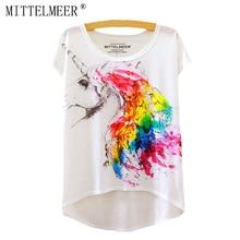 Bavlněné tričko s potiskem barevného jednorožce