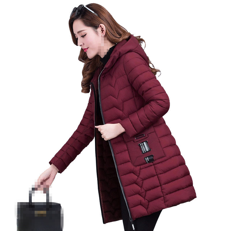 B2751 2019 New Autumn Winter Fashion Women's Long Warm Pure Color And Slim Cotton-padded Jacket Cheap Wholesale