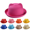 New Fashion Baby Straw Hat Summer Kids Cat Ear Decoration Lovely Beach Cap Children Character Girls Boys Solid Sun Hat casquette