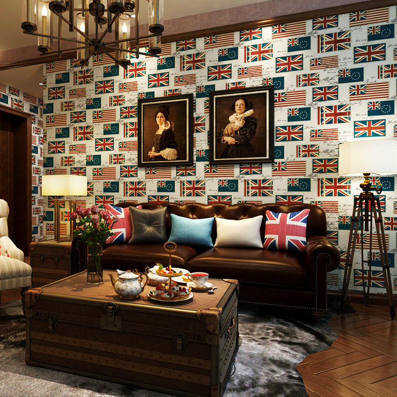 Mode britannique vent restauration anciennes manières drapeau haute qualité papier peint chambre salon TV réglage protection de l'environnement