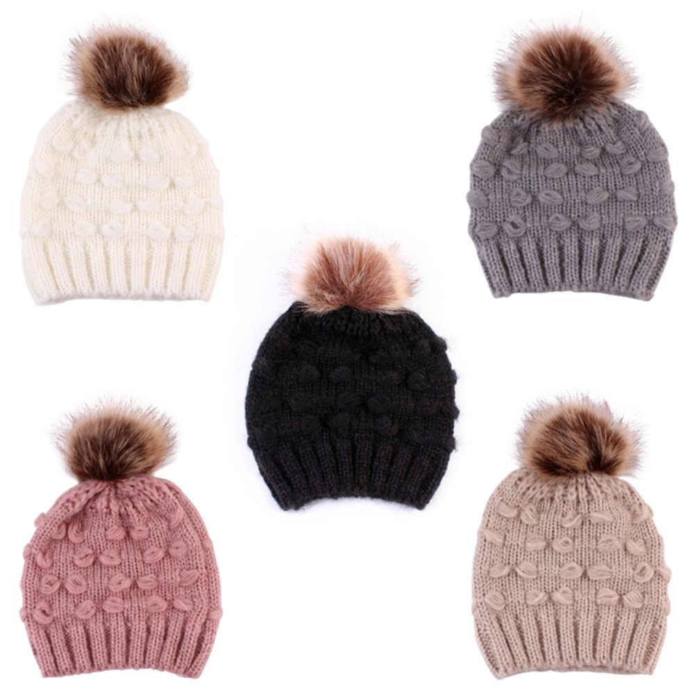 ... Mom and Me Cute Warm Hats Winter Wool Hat Crochet Knit Beanie Fur Pom  Pom Hat c786f3cd1a02