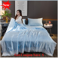 free shipping Lace Edge 4pcs washed silk summer duvet sets cool pillowcase bed sheet summer quilt sets air conditioning quilt