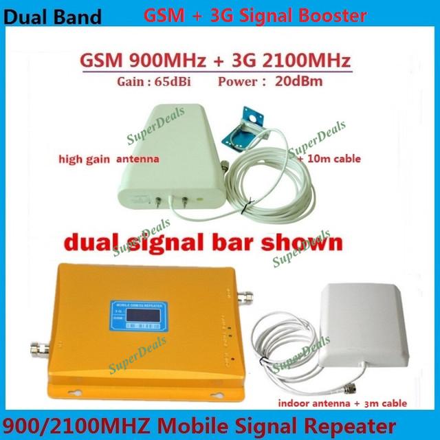 Pantalla LCD! 3G W-CDMA 2100 MHz GSM 900 Mhz Amplificador de Señal de Teléfono Celular de Banda Dual GSM 900 2100 UMTS Repetidor de Señal amplificador 1 Unidades