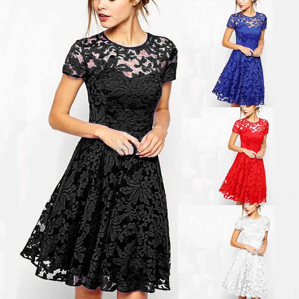 Short Sleeve luxury mini dress woman 2019 O-Neck dress women summer nature Blue Lace sundress female sukienka vestidos 4#G6