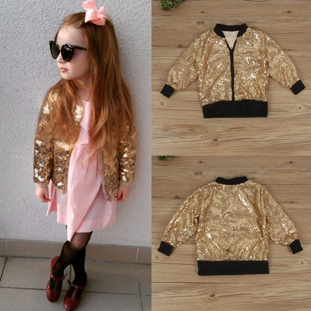 Puseky 2018 Baby Boys Girls Jackets Autumn Baseball Clothes Kids Coats Warm Thick Children Outerwear Sequins Children Cool Style