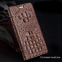 wangcangli genuine leather flip phone case Crocodile back texture For Huawei nova2 plus All handmade phone case