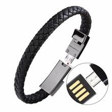 Cordon de synchronisation de câble de charge de données de chargeur de Bracelet Micro USB en cuir portatif extérieur pour iPhone6 6s câble de téléphone Android type c