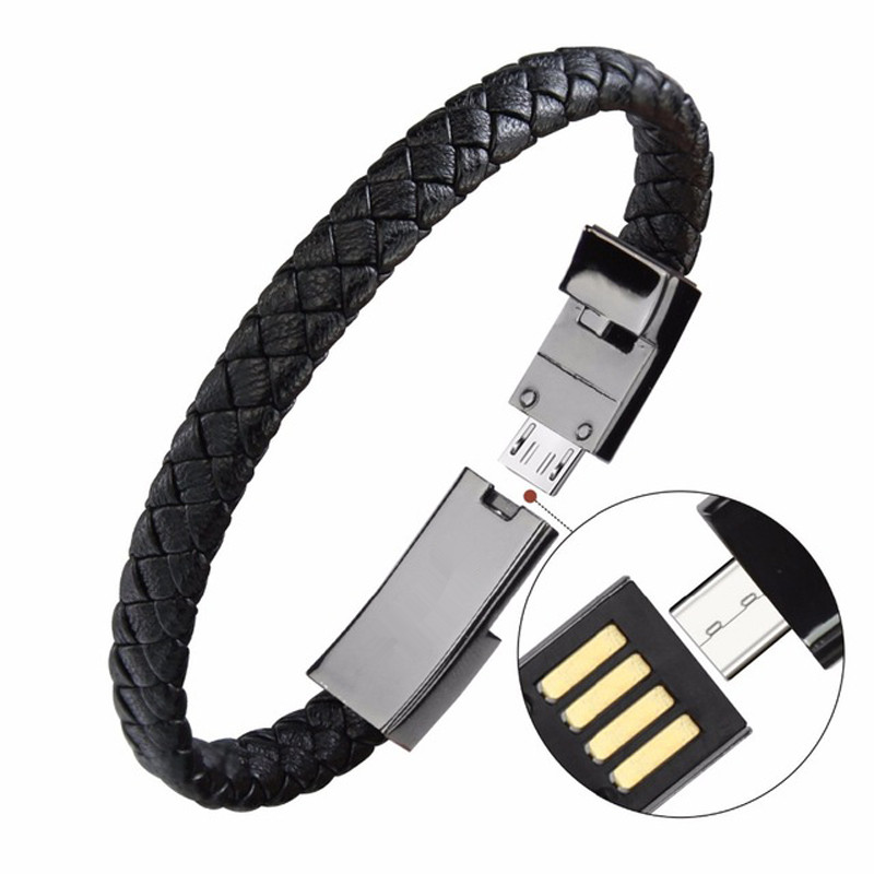 Mini câble de synchronisation de câble de chargement de données de chargeur de Bracelet d'usb en cuir portatif extérieur pour iPhone6 6s câble de téléphone Android type-c