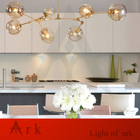 Nordic Personalized Molecular Glass Pendant Lamp Post Plated Modern Minimalist Guest House Villa Bubble Ball