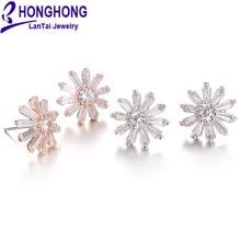 Honghong циркон серьги-гвоздики для женщин Красивый Подсолнух свадебные ювелирные аксессуары ‒ серёжки для свадьбы Вечерние# E80015