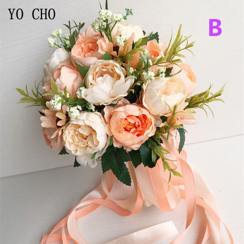 YO CHO Bride Wedding Bouquet Bridesmaid Holding Bouquet Wedding Supplies Artificial Silk Rose Peony Pink Flower Table Decoration