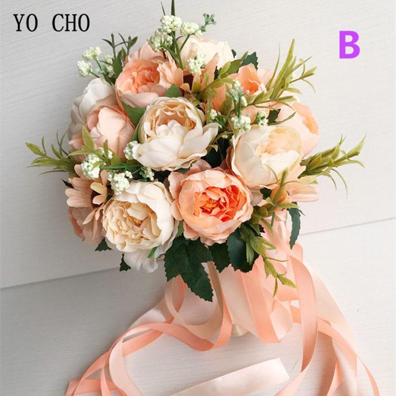 YO CHO Bride Wedding Bouquet Bridesmaid Holding Bouquet Wedding Supplies Artificial Silk Rose Peony Pink Flower Table Decoration