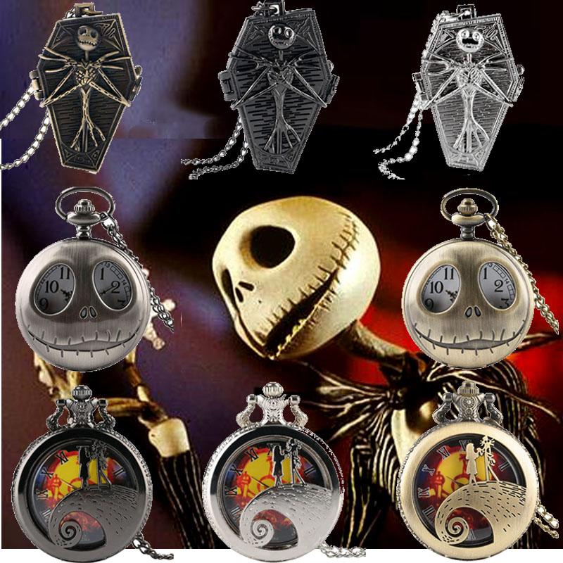 Retro Gothic Tim Burton The Nightmare Before Christmas Quartz Pocket Watch Jack Skellington Necklace Pendant Gifts For Men Kids