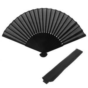 DIY Silk Black Chinese Folding Fan Hand Fan Wooden Bamboo Craft Painting Wedding Favors Party Decor with Pocket Gifts Home Decor(China)