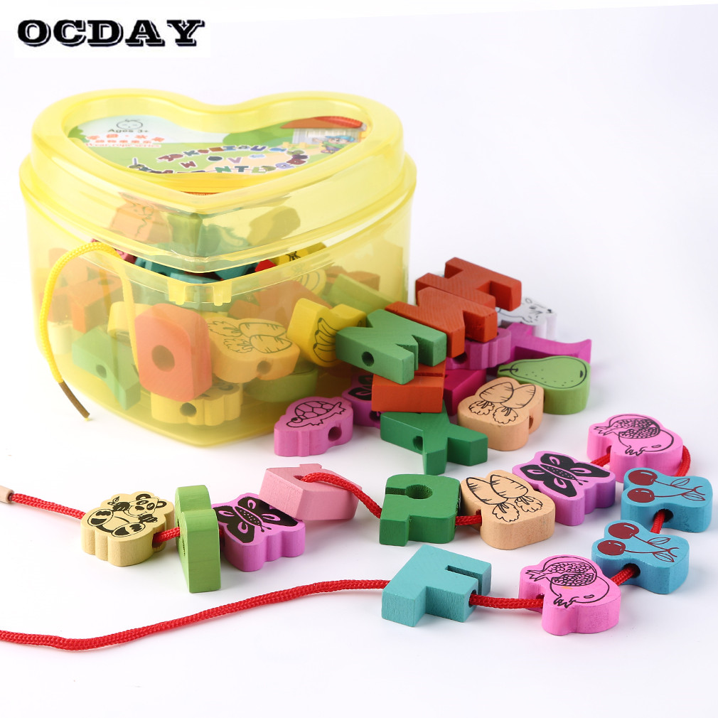 60pcs/lot Baby Montessori Educational Wooden Toys Animals Blocks Stringing Threading Lace Beads Box Preschool Learn Toy for Kids forest animals 100pcs blocks girls 1 6 years educational baby toys environmental protection wooden children creature boy toy