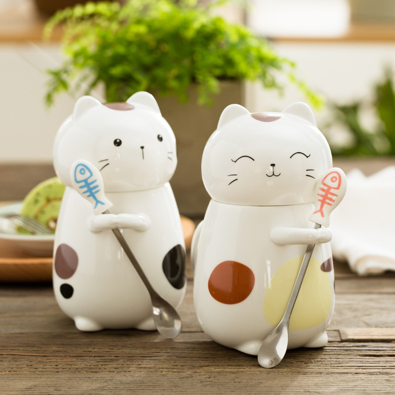 Kawwaii Cat Coffee Mug With Lid