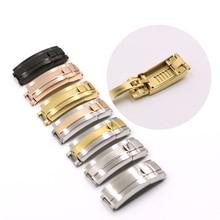 CARLYWET brocha de acero inoxidable para reloj, 9mm x 9mm, hebilla de cierre deslizante, cierre de acero para pulsera, correa de Cuero de goma, cinturón