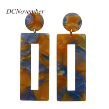 2018 Hollow Geometric Rectangular 4 Colors Acetate Drop Earrings Acetic Acid Resin Material Elegant Design Jewelry two tone hollow face design drop earrings