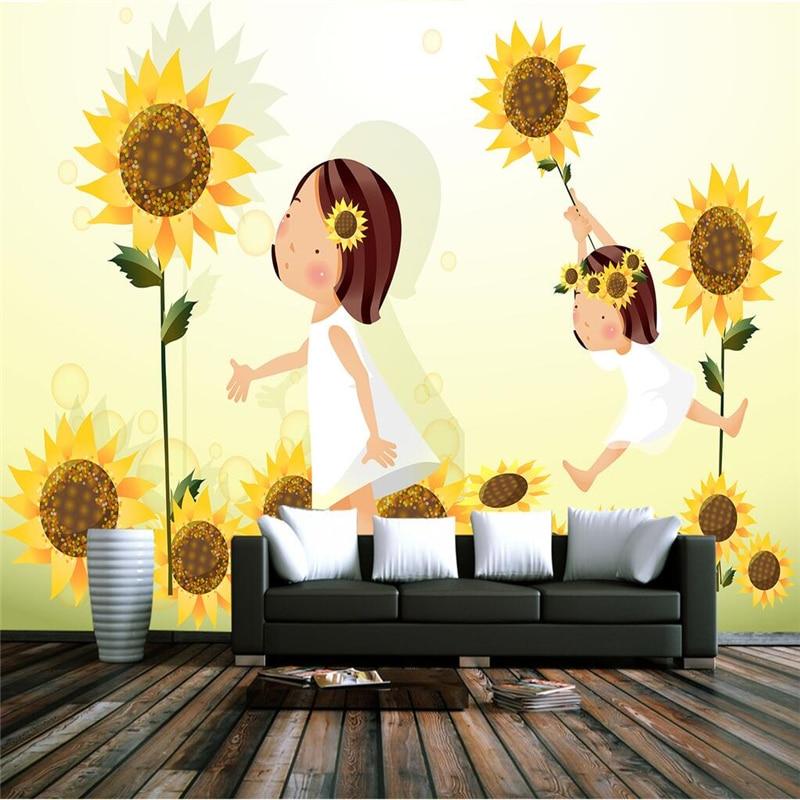 Custom Mural Kuning Wallpaper Bunga Matahari Wallpaper Untuk Kamar