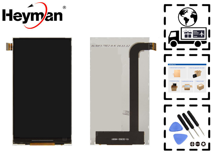 Heyman LCD display screen with touchscreen for Fly IQ456 Era Life 2 LCD Front Glass Lens Sensor Digitizer Replacement