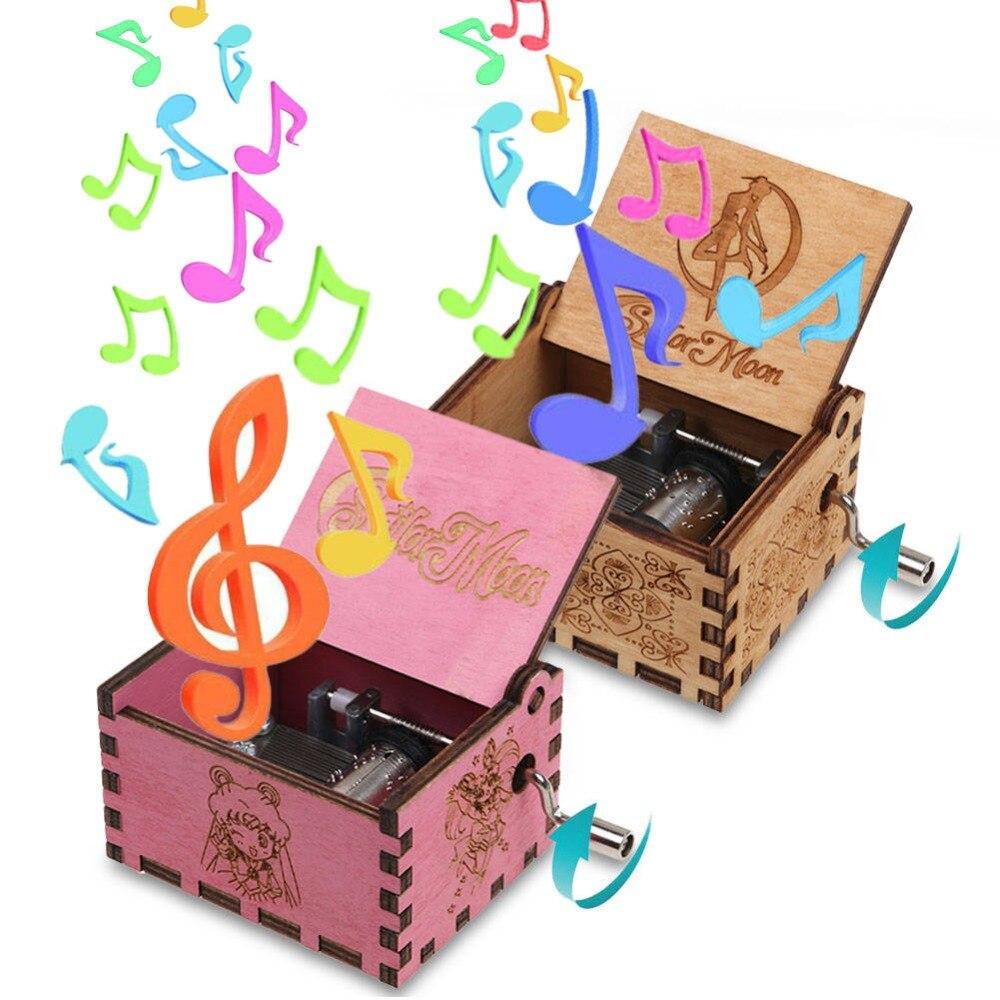 Retro Wooden Hand Crank Music Box Interesting Gift Sailor
